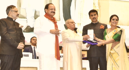 Surabhi receives award from the President of India